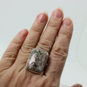 Shop Ocean Jasper Rings! Flower like Spring colors Ocean Jasper ring rectangular shape cab set on sterling silver 925 quality natural stone solid silver jewelry | Natural genuine Ocean Jasper rings, simple unique handcrafted gemstone rings. #rings #jewelry #shopping #gift #handmade #fashion #style #affiliate #ad