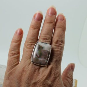 Shop Ocean Jasper Rings! Ocean Jasper soft colors ring big rectangular shape cab set on sterling silver 925 quality natural stone solid silver jewelry | Natural genuine Ocean Jasper rings, simple unique handcrafted gemstone rings. #rings #jewelry #shopping #gift #handmade #fashion #style #affiliate #ad