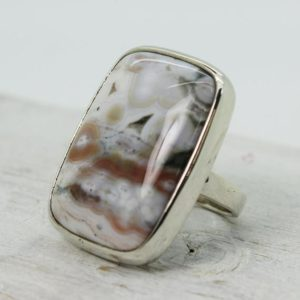Shop Ocean Jasper Rings! Spring Ocean Jasper soft colors ring big rectangular shape cab set on sterling silver 925 quality natural stone solid silver jewelry | Natural genuine Ocean Jasper rings, simple unique handcrafted gemstone rings. #rings #jewelry #shopping #gift #handmade #fashion #style #affiliate #ad