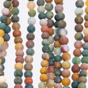 Shop Ocean Jasper Round Beads! Genuine Natural Matte Multicolor Ocean Jasper Loose Beads Round Shape 4mm | Natural genuine round Ocean Jasper beads for beading and jewelry making.  #jewelry #beads #beadedjewelry #diyjewelry #jewelrymaking #beadstore #beading #affiliate #ad