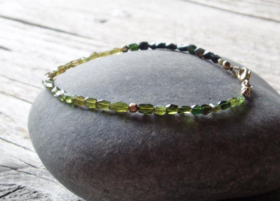 Ombre Green Tourmaline Bracelet, Gold Filled Accents, Stacking Bracelet For Men And Women, Custom Size, Made To Order