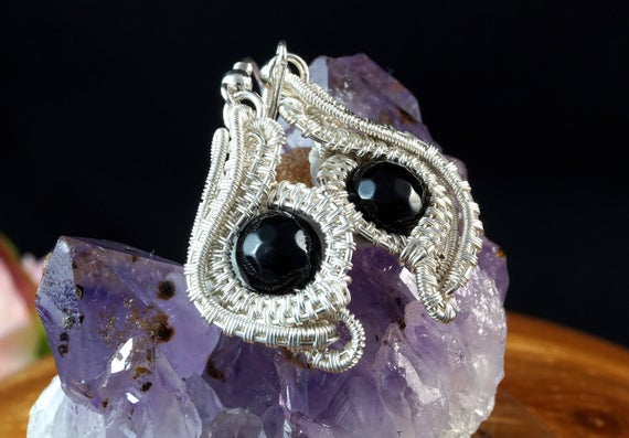 Evil Eye, Silver-plated Copper Wire Earrings With Onyx, Nicole Hanna Designed, Gift For Her Gift For Mom Perfect Present Unique Handcrafted