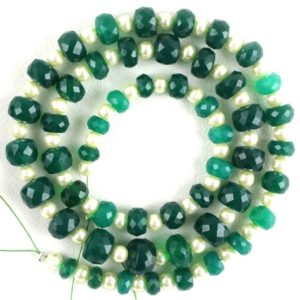 Shop Onyx Faceted Beads! Beautiful 1 Strand Natural Green Onyx Faceted Rondelle Beads,5-9 MM Beads,Green Onyx ,50 Piece,Making Jewelry,17 Inch,Wholesale Price | Natural genuine faceted Onyx beads for beading and jewelry making.  #jewelry #beads #beadedjewelry #diyjewelry #jewelrymaking #beadstore #beading #affiliate #ad