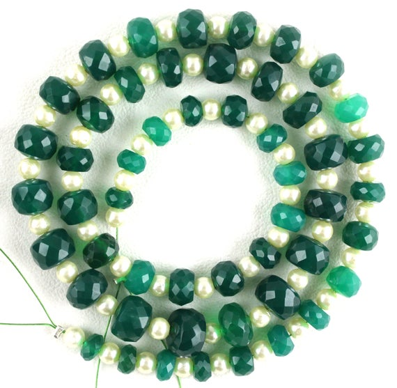 Beautiful 1 Strand Natural Green Onyx Faceted Rondelle Beads,5-9 Mm Beads,green Onyx ,50 Piece,making Jewelry,17 Inch,wholesale Price