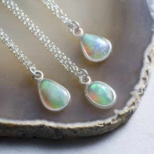 Opal Birthstone Necklace-Silver Opal Necklace-Precious Opal Pendant-Fire Opal Necklace-Sterling Silver Necklace-Opal Jewelry-Cabochon Opal | Natural genuine Opal pendants. Buy crystal jewelry, handmade handcrafted artisan jewelry for women.  Unique handmade gift ideas. #jewelry #beadedpendants #beadedjewelry #gift #shopping #handmadejewelry #fashion #style #product #pendants #affiliate #ad