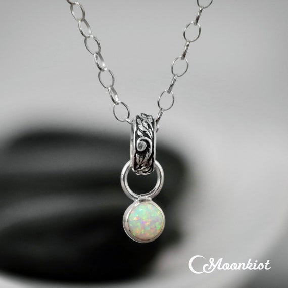 Dainty Opal Necklace, Sterling Silver Opal Pendant, Opal Silver Necklace, Opal Jewelry, October Birthstone Pendant | Moonkist Designs