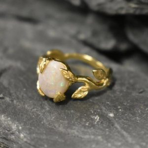 Gold Opal Ring, Opal Ring, Natural Opal, October Birthstone, Leaf Ring, Gold Vintage Ring, Fire Opal Ring, 18K Gold Ring, Solid Silver Ring | Natural genuine Opal rings, simple unique handcrafted gemstone rings. #rings #jewelry #shopping #gift #handmade #fashion #style #affiliate #ad
