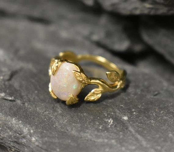 Gold Opal Ring, Opal Ring, Natural Opal, October Birthstone, Leaf Ring, Gold Vintage Ring, Fire Opal Ring, 18k Gold Ring, Solid Silver Ring