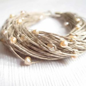 June Birthstone Jewelry Natural Pearls Linen Bracelet Wedding Peachy Shabby Chic Bridal Fashion Beaded Cream Rose Pastel Light Pink | Natural genuine Pearl jewelry. Buy handcrafted artisan wedding jewelry.  Unique handmade bridal jewelry gift ideas. #jewelry #beadedjewelry #gift #crystaljewelry #shopping #handmadejewelry #wedding #bridal #jewelry #affiliate #ad