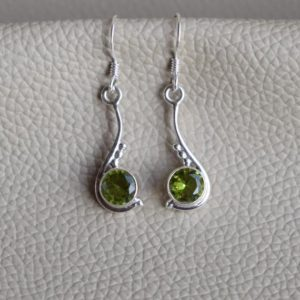 Shop Peridot Earrings! Natural Peridot Earrings, Handmade Silver Earrings, 925 Sterling Silver, Round Peridot Designer Earrings, Gift for her, Dangle Drop Earrings | Natural genuine Peridot earrings. Buy crystal jewelry, handmade handcrafted artisan jewelry for women.  Unique handmade gift ideas. #jewelry #beadedearrings #beadedjewelry #gift #shopping #handmadejewelry #fashion #style #product #earrings #affiliate #ad