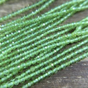 """Shop Peridot Faceted Beads! 2mm Faceted Green Peridot Beads Natural Micro Faceted Round Peridot Beads Green Gemstone Crystal Beads Jewelry Beads 15.5"""" Full Strand 