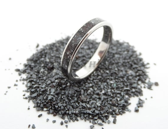 Perfect Christmas Gift For Him! Personalized Hematite Ring With Stainless Steel, Custom Engraved Wedding / Engagement Ring, Anniversary Ring