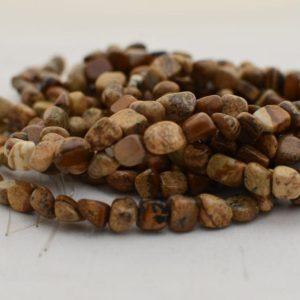 "Shop Jasper Chip & Nugget Beads! High Quality Grade A Natural Picture Jasper Semi-Precious Gemstone Tumbled Stone Nugget Pebble Beads – approx 5mm – 8mm – 15.5"" strand 