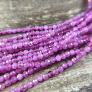 "Shop Pink Tourmaline Faceted Beads! 3mm Micro Faceted Tourmaline Beads Pink Tourmaline Beads Tiny Small Tourmaline Crystal Gemstone Beads Jewelry Beads 15.5"" Full Strand 