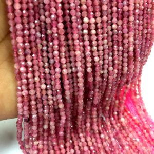 Shop Pink Tourmaline Faceted Beads! Natural Pink Tourmaline Faceted Rondelle Beads 3mm Tourmaline Gemstone Beads Micro Cut Tourmaline Beads Top Quality 5 Strand | Natural genuine faceted Pink Tourmaline beads for beading and jewelry making.  #jewelry #beads #beadedjewelry #diyjewelry #jewelrymaking #beadstore #beading #affiliate #ad