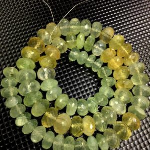 "Shop Prehnite Faceted Beads! Natural Prehnite Faceted Rondelle Beads 9-11.MM Prehnite Gemstone Beads 18"" Strand 