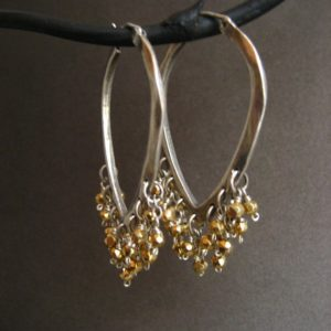 Shop Pyrite Jewelry! Sterling silver triangular hoop earrings with golden pyrite – solid sterling silver | Natural genuine Pyrite jewelry. Buy crystal jewelry, handmade handcrafted artisan jewelry for women.  Unique handmade gift ideas. #jewelry #beadedjewelry #beadedjewelry #gift #shopping #handmadejewelry #fashion #style #product #jewelry #affiliate #ad