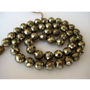 Shop Pyrite Faceted Beads! Pyrite Faceted Beads Rondelle Beads, 6mm Pyrite Beads, 45 Pieces, 12 Inch Strand | Natural genuine faceted Pyrite beads for beading and jewelry making.  #jewelry #beads #beadedjewelry #diyjewelry #jewelrymaking #beadstore #beading #affiliate #ad