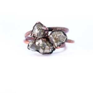 Raw pyrite ring | Fool's gold jewelry | Fool's gold ring | Rough Pyrite jewelry | Natural genuine Pyrite rings, simple unique handcrafted gemstone rings. #rings #jewelry #shopping #gift #handmade #fashion #style #affiliate #ad