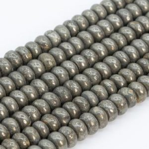 Shop Pyrite Rondelle Beads! Genuine Natural Copper Pyrite Loose Beads Rondelle Shape 6x3MM | Natural genuine rondelle Pyrite beads for beading and jewelry making.  #jewelry #beads #beadedjewelry #diyjewelry #jewelrymaking #beadstore #beading #affiliate #ad