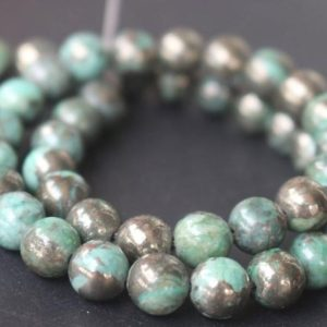 Shop Pyrite Beads! Green Iron Pyrite Smooth Round Beads,4mm/6mm/8mm/10mm/12mm Beads Supply,15 inches one starand | Natural genuine beads Pyrite beads for beading and jewelry making.  #jewelry #beads #beadedjewelry #diyjewelry #jewelrymaking #beadstore #beading #affiliate #ad