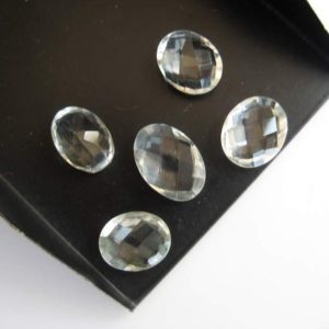 Shop Quartz Cabochons! 10 Pieces 13x10mm Each Natural Quartz Crystal Oval Shaped Both Side Faceted Loose Gemstones BB99 | Natural genuine stones & crystals in various shapes & sizes. Buy raw cut, tumbled, or polished gemstones for making jewelry or crystal healing energy vibration raising reiki stones. #crystals #gemstones #crystalhealing #crystalsandgemstones #energyhealing #affiliate #ad