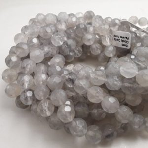 "Shop Quartz Crystal Faceted Beads! Cloudy Quartz Big Faceted Round Beads 10mm 15.5"" Strand 