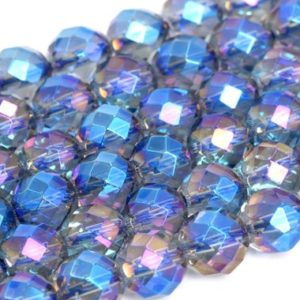 Shop Quartz Crystal Beads! Natural Blue Crystal Quartz Loose Beads Faceted Round Shape 6mm 8mm 10mm | Natural genuine beads Quartz beads for beading and jewelry making.  #jewelry #beads #beadedjewelry #diyjewelry #jewelrymaking #beadstore #beading #affiliate #ad