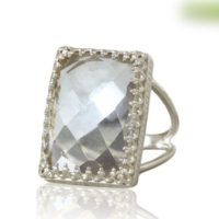 Fine Silver Quartz Ring, rectangle Ring, sterling Silver Ring, wow Statement Ring, crystal Quartz Ring, faceted Gemstone Ring   Natural genuine Gemstone jewelry. Buy crystal jewelry, handmade handcrafted artisan jewelry for women.  Unique handmade gift ideas. #jewelry #beadedjewelry #beadedjewelry #gift #shopping #handmadejewelry #fashion #style #product #jewelry #affiliate #ad
