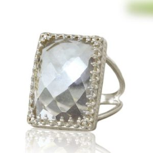 Shop Quartz Crystal Rings! Fine Silver Quartz Ring, rectangle Ring, sterling Silver Ring, wow Statement Ring, crystal Quartz Ring, faceted Gemstone Ring | Natural genuine Quartz rings, simple unique handcrafted gemstone rings. #rings #jewelry #shopping #gift #handmade #fashion #style #affiliate #ad