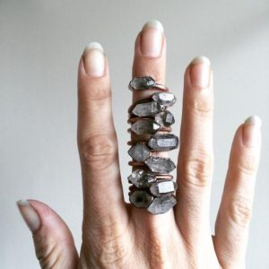 Tibetan crystal ring | Raw anthraxolite crystal ring | Double terminated quartz ring | Crystal quartz ring | Rough stone ring | | Natural genuine Quartz rings, simple unique handcrafted gemstone rings. #rings #jewelry #shopping #gift #handmade #fashion #style #affiliate #ad