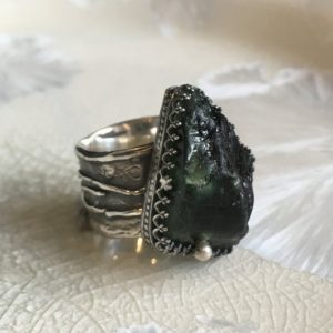 Shop Green Tourmaline Rings! Raw forest green tourmaline ring, Raw gemstone jewelry, Sterling silver ring, crown ring, statement ring, organic ring – Jungle R2608 | Natural genuine Green Tourmaline rings, simple unique handcrafted gemstone rings. #rings #jewelry #shopping #gift #handmade #fashion #style #affiliate #ad