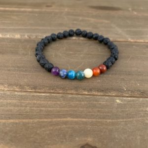 Shop Chakra Bracelets! Chakra bracelet – real gemstones, lava beads | essential oil bracelet, chakra jewelry | Shop jewelry making and beading supplies, tools & findings for DIY jewelry making and crafts. #jewelrymaking #diyjewelry #jewelrycrafts #jewelrysupplies #beading #affiliate #ad