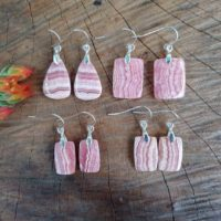 Dainty Rhodochrosite Earrings. Sterling Silver Rhodochrosite Earrings   Natural genuine Gemstone jewelry. Buy crystal jewelry, handmade handcrafted artisan jewelry for women.  Unique handmade gift ideas. #jewelry #beadedjewelry #beadedjewelry #gift #shopping #handmadejewelry #fashion #style #product #jewelry #affiliate #ad