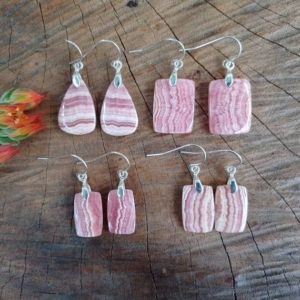 Shop Rhodochrosite Earrings! Dainty rhodochrosite earrings. Sterling silver rhodochrosite earrings | Natural genuine Rhodochrosite earrings. Buy crystal jewelry, handmade handcrafted artisan jewelry for women.  Unique handmade gift ideas. #jewelry #beadedearrings #beadedjewelry #gift #shopping #handmadejewelry #fashion #style #product #earrings #affiliate #ad