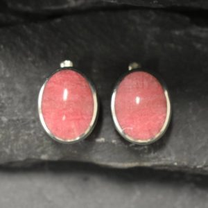 Shop Rhodochrosite Earrings! Rhodochrosite Earrings, Natural Rhodochrosite, Large Pink Earrings, Large Oval Studs, Retro Earrings, Statement Studs, 925 Silver Earrings | Natural genuine Rhodochrosite earrings. Buy crystal jewelry, handmade handcrafted artisan jewelry for women.  Unique handmade gift ideas. #jewelry #beadedearrings #beadedjewelry #gift #shopping #handmadejewelry #fashion #style #product #earrings #affiliate #ad