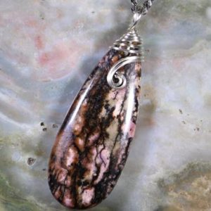 Shop Rhodonite Necklaces! Rhodonite Healing Stone Necklace with Positive Healing Energy! | Natural genuine Rhodonite necklaces. Buy crystal jewelry, handmade handcrafted artisan jewelry for women.  Unique handmade gift ideas. #jewelry #beadednecklaces #beadedjewelry #gift #shopping #handmadejewelry #fashion #style #product #necklaces #affiliate #ad