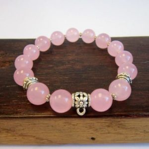 Rose Quartz Bracelet Rose Quartz Energy Charm Bracelet Heart Chakra Rose Quartz Bracelet Love Rose Quartz Bracelet Pink Quartz Bracelet Yoga | Natural genuine Array bracelets. Buy crystal jewelry, handmade handcrafted artisan jewelry for women.  Unique handmade gift ideas. #jewelry #beadedbracelets #beadedjewelry #gift #shopping #handmadejewelry #fashion #style #product #bracelets #affiliate #ad