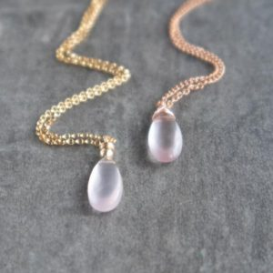Rose Quartz Necklace, Pendant Necklace, Dainty Necklace, Gemstone Necklace, Rose Gold Filled Necklace, Gift for Friend, Gift for Her | Natural genuine Array jewelry. Buy crystal jewelry, handmade handcrafted artisan jewelry for women.  Unique handmade gift ideas. #jewelry #beadedjewelry #beadedjewelry #gift #shopping #handmadejewelry #fashion #style #product #jewelry #affiliate #ad