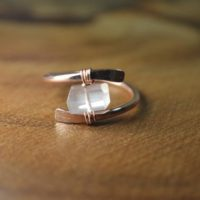 Raw Rose Quartz Ring In Sterling Silver, 14k Gold / / Wire Wrapped Gemstone Ring / / Healing Crystal / / Bohochic Ring / / Rose Quartz Jewelry | Natural genuine Gemstone jewelry. Buy crystal jewelry, handmade handcrafted artisan jewelry for women.  Unique handmade gift ideas. #jewelry #beadedjewelry #beadedjewelry #gift #shopping #handmadejewelry #fashion #style #product #jewelry #affiliate #ad