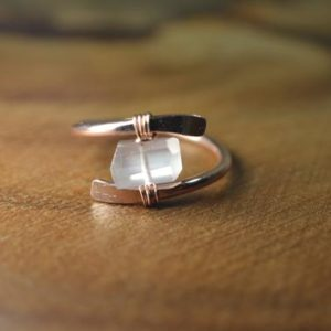 Shop Rose Quartz Rings! Raw Rose Quartz Ring in Sterling Silver, 14k Gold // Wire Wrapped Gemstone Ring // Healing Crystal // Bohochic Ring // Rose Quartz Jewelry | Natural genuine Rose Quartz rings, simple unique handcrafted gemstone rings. #rings #jewelry #shopping #gift #handmade #fashion #style #affiliate #ad
