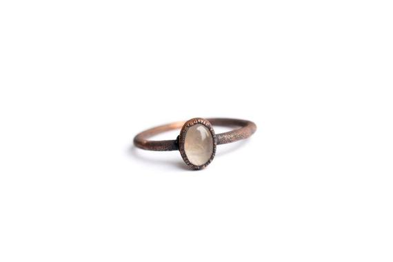 Rose Quartz Ring | Simple Stone Stacking Ring | Pale Rose Quartz Stacking Ring | Raw Mineral Jewelry | Organic Stone Jewelry | Stacking Ring