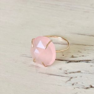 Shop Rose Quartz Rings! Rose Quartz Ring Rose Quartz Slice Ring Rose Quartz Jewelry Gemstone Jewelry | Natural genuine Rose Quartz rings, simple unique handcrafted gemstone rings. #rings #jewelry #shopping #gift #handmade #fashion #style #affiliate #ad