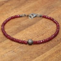 Ruby Pave Diamond Ball Bracelet, Genuine Diamonds, Oxidized Sterling Silver, Ruby Jewelry | Natural genuine Gemstone jewelry. Buy crystal jewelry, handmade handcrafted artisan jewelry for women.  Unique handmade gift ideas. #jewelry #beadedjewelry #beadedjewelry #gift #shopping #handmadejewelry #fashion #style #product #jewelry #affiliate #ad