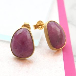 Shop Ruby Earrings! Ruby Earrings, Gold Earrings, Ruby Oval Earrings, Gemstone Studs, Gold Gemstone Earrings, Red Gemstone Earring, Natural Stone, Ruby Jewelry | Natural genuine Ruby earrings. Buy crystal jewelry, handmade handcrafted artisan jewelry for women.  Unique handmade gift ideas. #jewelry #beadedearrings #beadedjewelry #gift #shopping #handmadejewelry #fashion #style #product #earrings #affiliate #ad