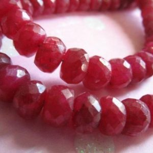 "Shop Ruby Faceted Beads! 1/4 Strand, 3.25"" inch, RUBY Rondelles Beads, Luxe AAA, 4-5 or 5-6 mm, Faceted, July birthstone brides bridal tr r 45 56 true solo 