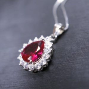 Shop Ruby Necklaces! Halo Teardrop Ruby Necklace – Sterling Silver 18KGP – July Birthstone – Pear Cut Genuine Lab Growing Ruby Pendant | Natural genuine Ruby necklaces. Buy crystal jewelry, handmade handcrafted artisan jewelry for women.  Unique handmade gift ideas. #jewelry #beadednecklaces #beadedjewelry #gift #shopping #handmadejewelry #fashion #style #product #necklaces #affiliate #ad