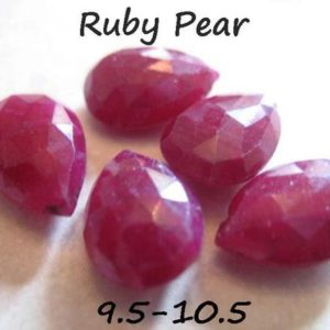 Genuine RUBY Bead, Faceted Pear Briolettes Gemstone Beads, 9.5-10.5 mm, AAA, Precious Gems, July Birthstone Holiday Valentines z tr solo 10b | Natural genuine other-shape Ruby beads for beading and jewelry making.  #jewelry #beads #beadedjewelry #diyjewelry #jewelrymaking #beadstore #beading #affiliate #ad