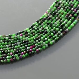 "Shop Ruby Zoisite Faceted Beads! Ruby Zoisite – 2mm Faceted Round Beads, Ruby Zoisite Strand 15"" AAA Quality Ruby Zoisite Gemstone 