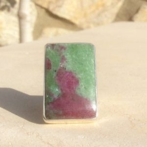 Shop Ruby Zoisite Jewelry! Large Gemstone Silver Statement Ring, Ruby Zoisite Sterling Silver Ring, Cocktail Ring | Natural genuine Ruby Zoisite jewelry. Buy crystal jewelry, handmade handcrafted artisan jewelry for women.  Unique handmade gift ideas. #jewelry #beadedjewelry #beadedjewelry #gift #shopping #handmadejewelry #fashion #style #product #jewelry #affiliate #ad